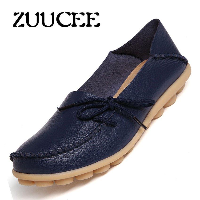 Beli Zuucee Musim Semi Dan Musim Panas Model Kulit Peas Sepatu Wanita Dengan Dangkal Telapak Sepatu Sepatu Bersol Lembut Ibu Sepatu Hollow Sepatu Wanita Hamil Flat Siput Sepatu Biru Tua Intl Zuucee