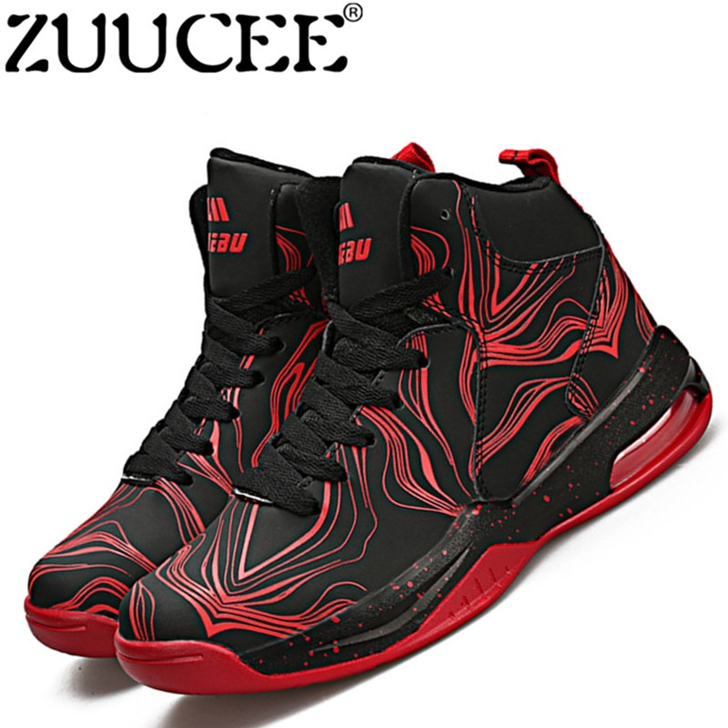 ZUUCEE Men Fashion Outdoor Sports Basketball Shoes Lovers Running High-top(red black)