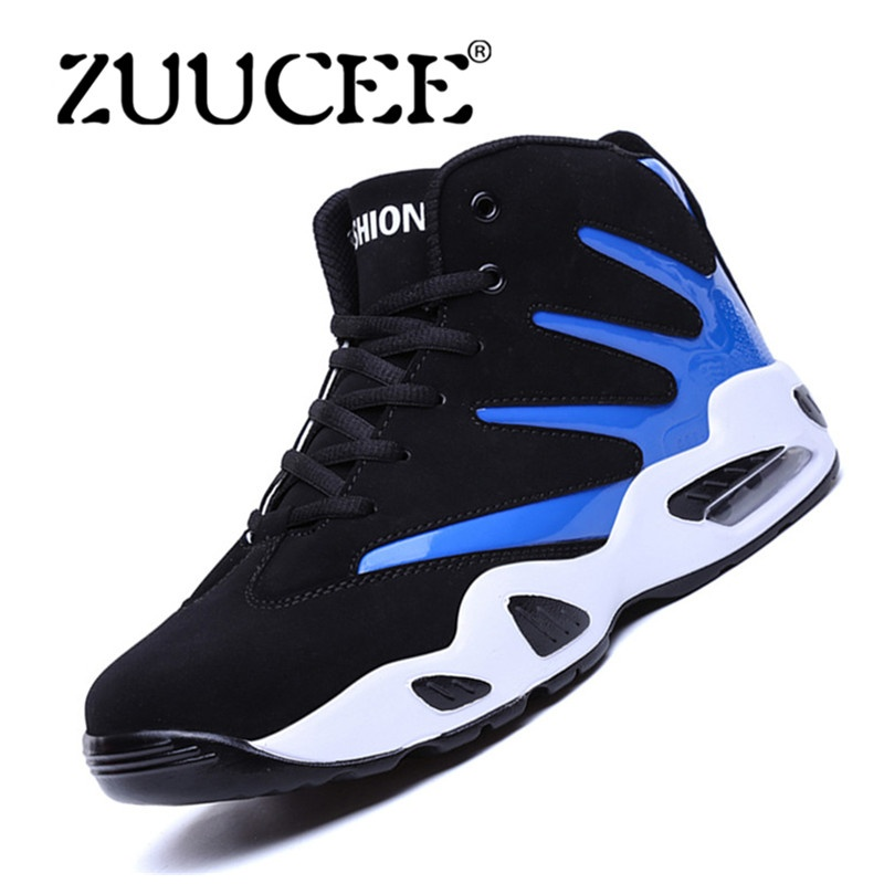 ZUUCEE Pria Musim Dingin Tinggi Top Sepatu Bola Basket Causion Olahraga Sneakers (biru Hitam)-Intl