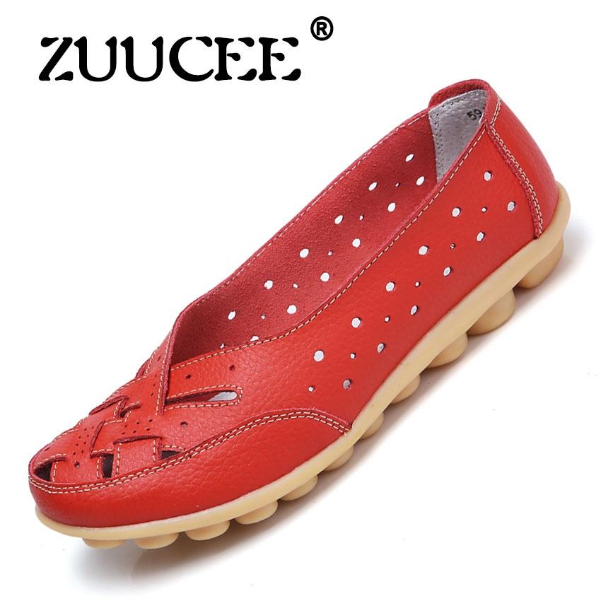 Harga Zuucee Sarang Burung Lubang Her Datar Sandal Sandal Musim Panas Sepatu Peas Sepatu Kulit Kasual Wanita Mid Size Kode Ibu Sepatu Merah Zuucee Ori