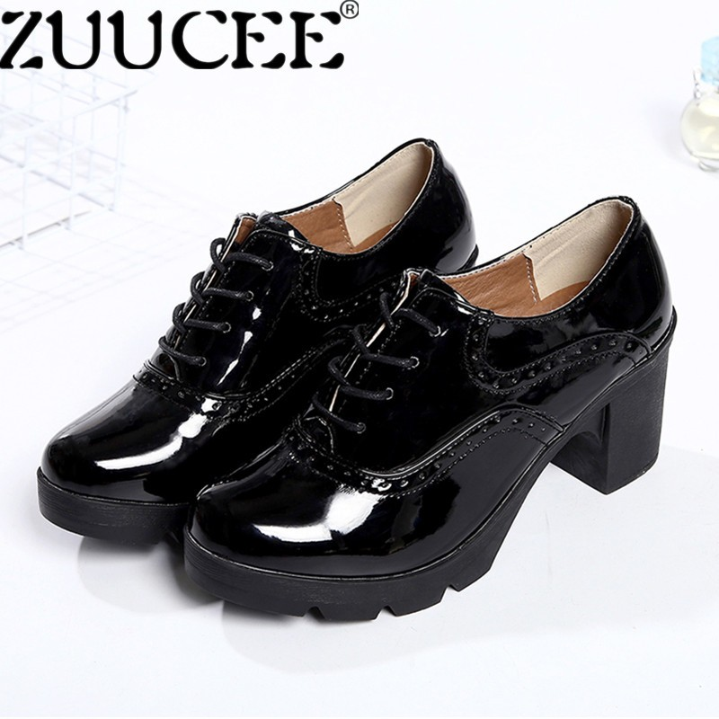 Spesifikasi Zuucee Women Bullock Leather Shoes Oxfords Lace Up Shoes Wedges Light Surface Crude Heels Shoes Black Intl Terbaru
