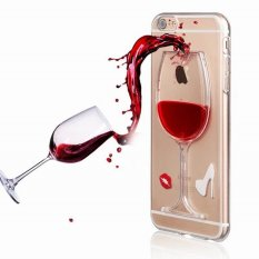 ZZOOI untuk IPhone 5/5 S/5C/SE Phone Case Anggur Merah Cair Quicksand Transparan Clear Hard Back Cover untuk IPhone 5 5 S SE Case-Internasional