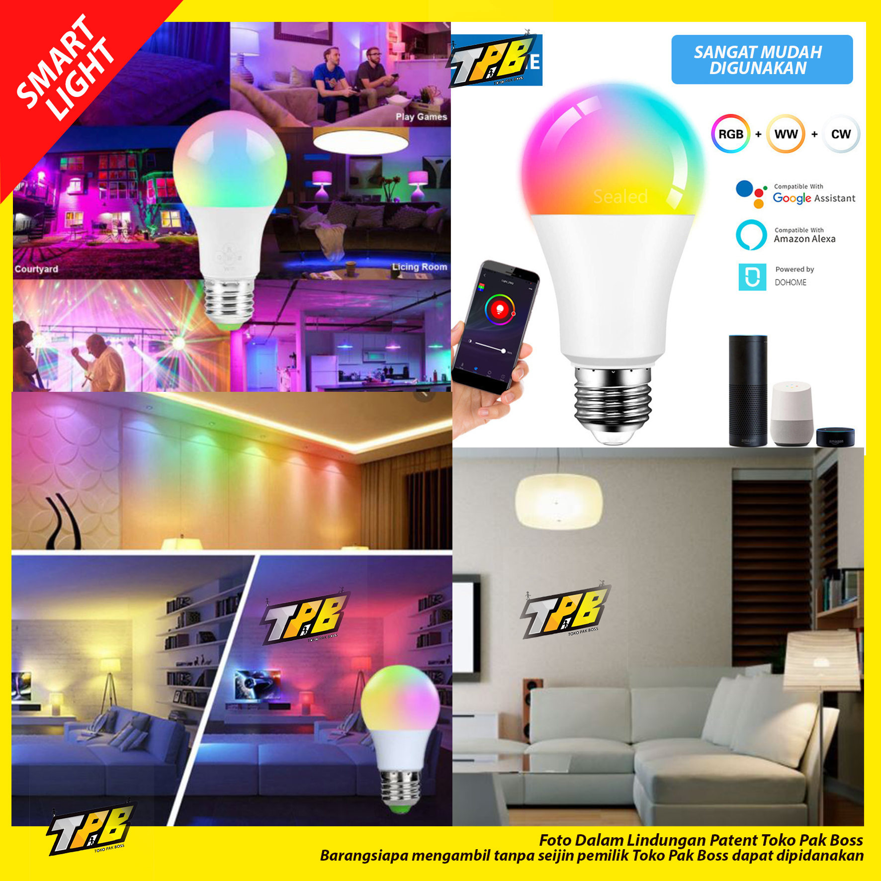 Smart light LED WIFI 9W RGBWW LED Light Bulb ORI bukan shinyoku bardi philips osram IoT For Home Automation light bulb lampu bohlam wifi wireless termurah HEMAT IRIT LISTRIK 9 w 9 watt
