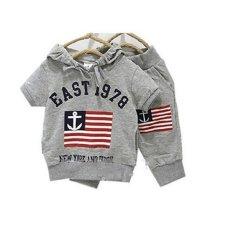 Spesifikasi 2016 Baru Musim Panas Pure Katun Pakaian Anak Set Shirt Celana Unisex Abu Abu Lengkap Dengan Harga