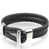 Beli 2016 New Black Leather Bracelet Bangle Wholesale Fashion Bracelet Men Jewelry