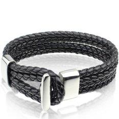 Jual 2016 New Black Leather Bracelet Bangle Wholesale Fashion Bracelet Men Jewelry Oem Original