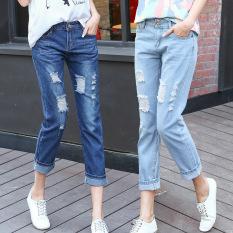 Harga 2016 Jeans Wanita Ankle Length Robek Lubang Fashion Lurus Pinggang Tengah Famale Dicuci Denim Celana Celana Panjang Katun Online Tiongkok