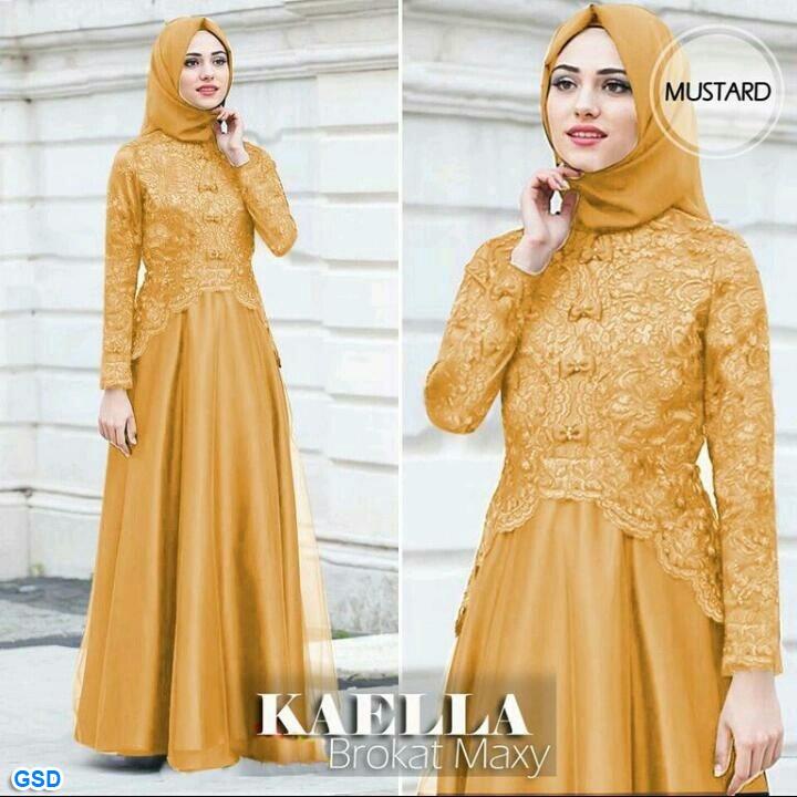 BAYAR DI TEMPAT /Gamis panjang wanita muslimah terbaru / baju pesta muslim ONE SIZE TO L/Gaun Pesta wanita/ Maxi Kaella Brokat