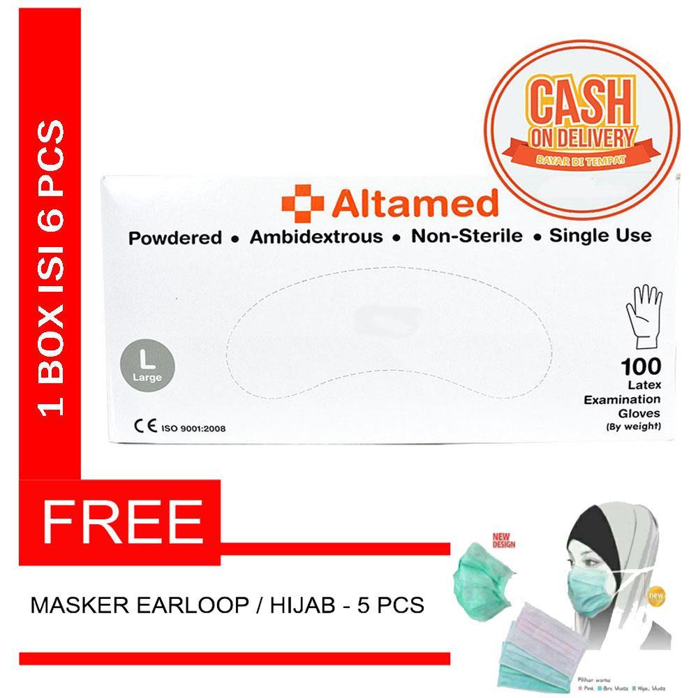 Altamed Surgical Glove Latex Non Steril / Sensi Sarung Tangan Karet / Handscoon - Size L