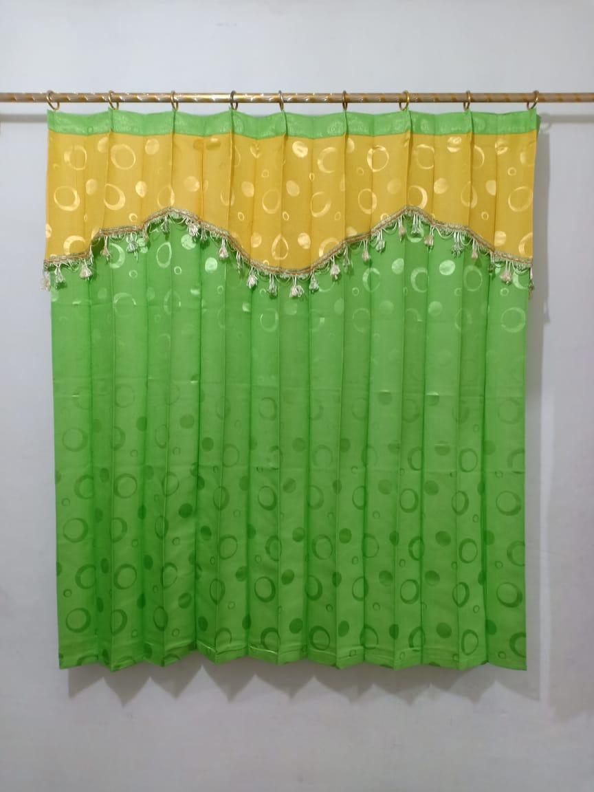 Gorden hordeng jendela tanggung 2 kaca manohara renda pony tempel kuning HIJAU PUPUS ukuran 150 x 135