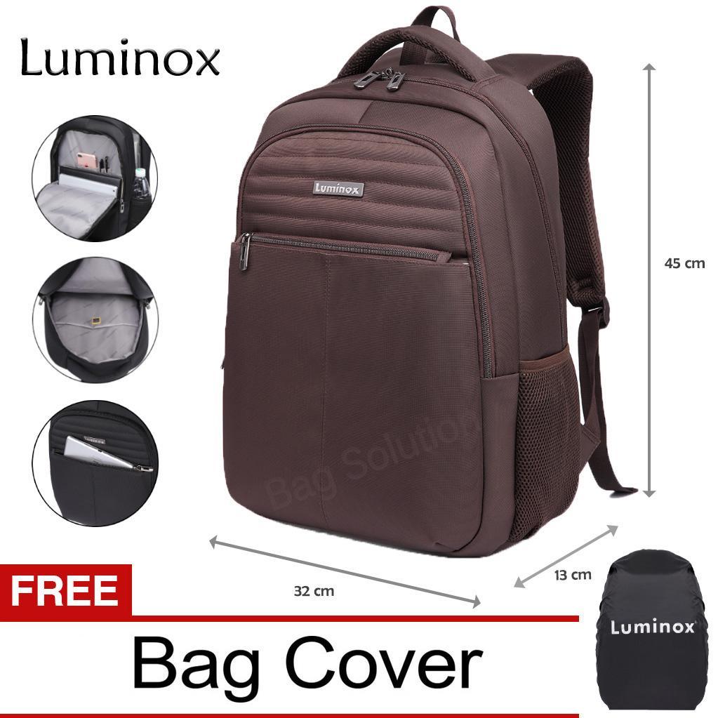 Luminox Tas Ransel Laptop - Tas Punggung Tas Pria Tas Wanita - Backpack Up to 15.6 inch Anti Air EIAA Hitam  - Gratis Ongkir Seluruh Indonesia