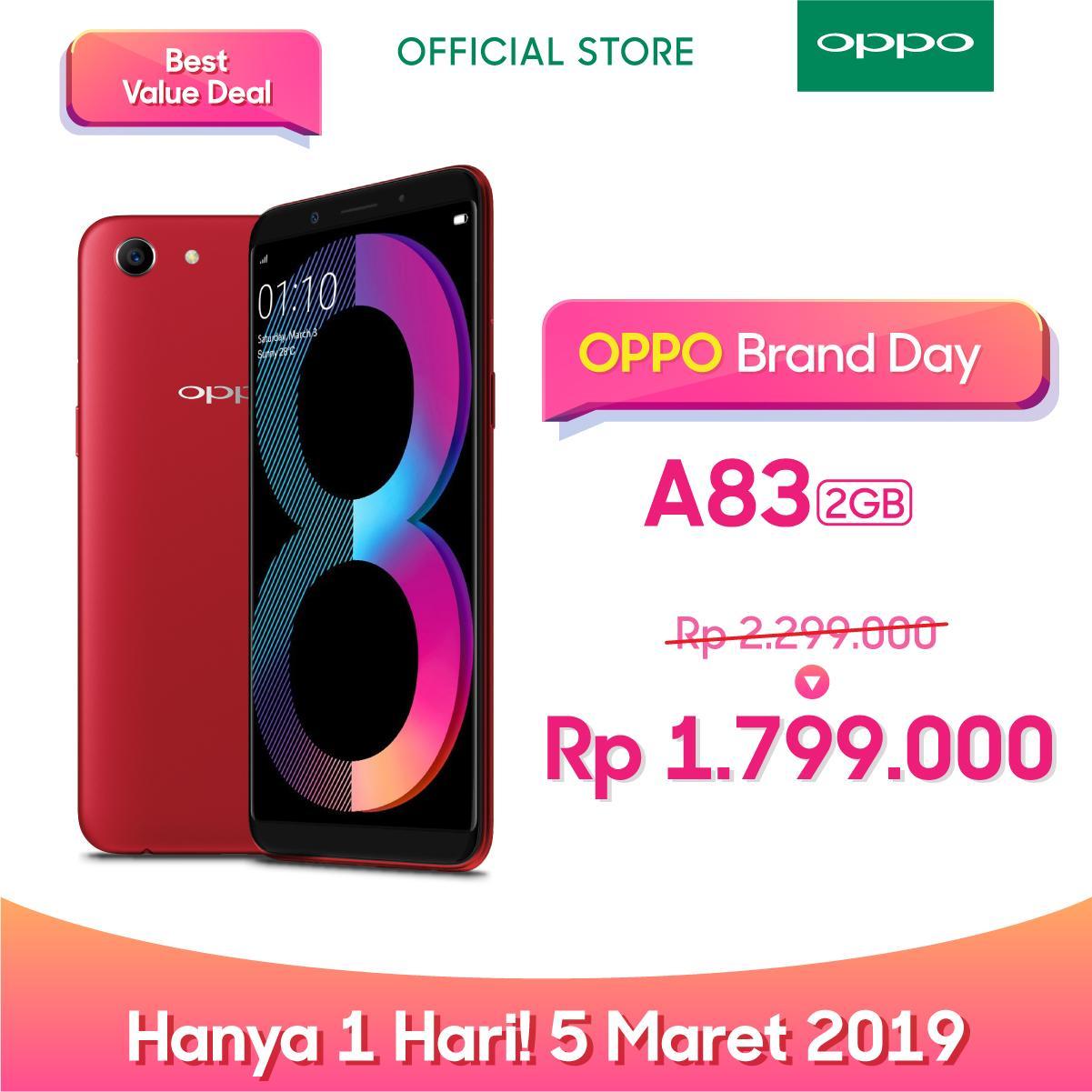 OPPO A83 SMARTPHONE 2GB/16GB ( A.I Beauty, Face Unlock (COD, Garansi Resmi OPPO, Cicilan tanpa kartu kredit, Cicilan 0%, Gratis Ongkir)