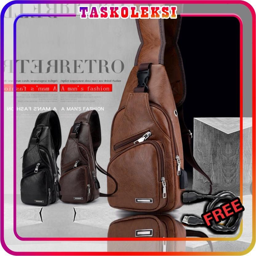 Indonesia. TK - TAS SLING BAG KULIT USB NEW MODEL KUALITAS IMPORT BATAM  MURAH KERJA SELEMPANG PRIA 0fce60ddc3