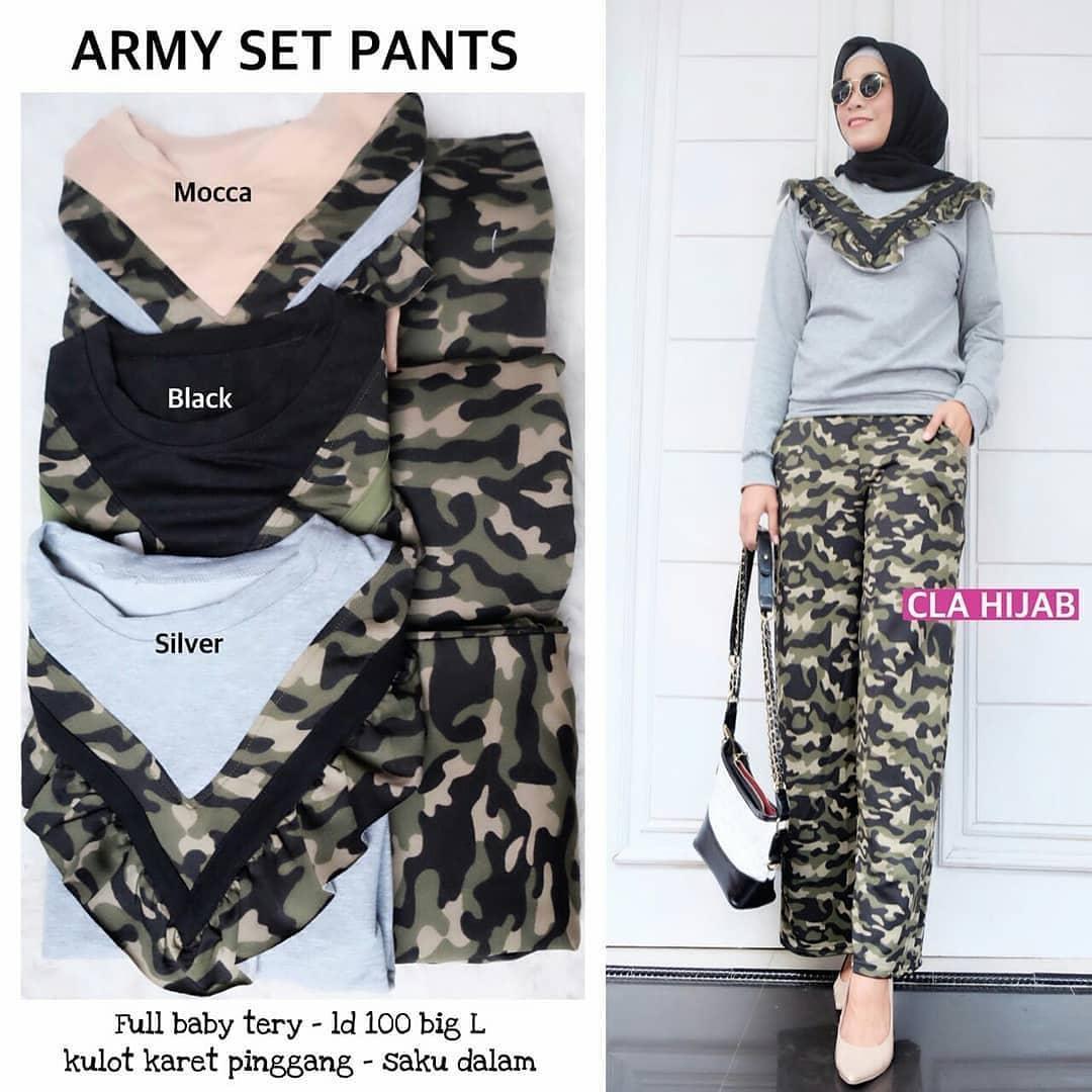 Rp 100.000. Baju Original Army Set Pants Wanita Lucu Termurah Bandung  Muslim Dewasa Supplier Pakaian Fashion Cewek ... a5d4b2540a
