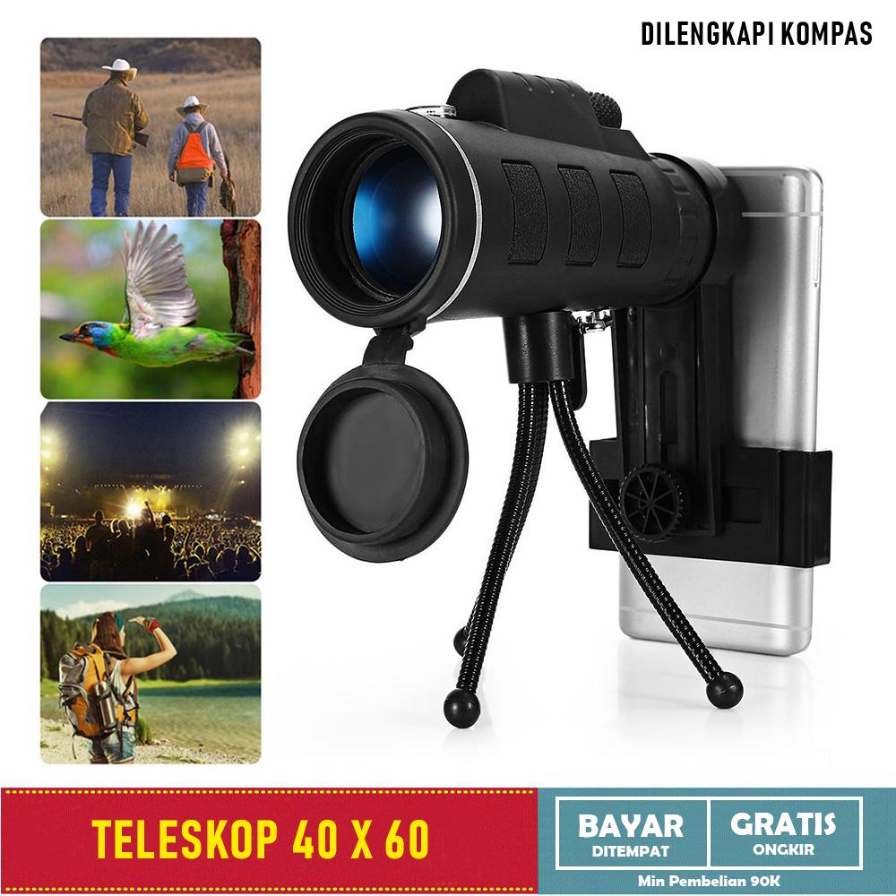 Teleskop Super Zoom 40 X 60 Night Vision HD Monocular Camping With Kompas - All item