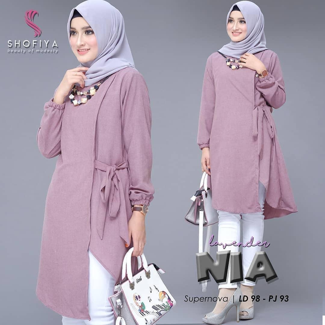 New Nia Tunik Supernova Original Baju Muslim Terlaris Atasan Wanita Terbaru 2019 Blouse / Top Cewek Kekinian Supplier Pakaian Dewasa Bandung Murah Fashion Tshirt Simple Ootd Hijab Trendy