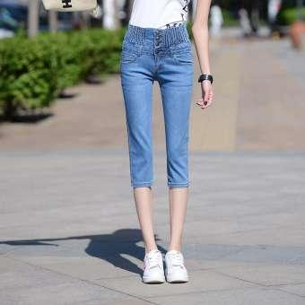 เอวสูงสามส่วนกางเกงยีนส์หญิงฤดูร้อนกางเกงเอวยางยึดเพิ่มขนาดไซส์ใหญ่พิเศษไขมัน MM เสื้อผ้าแฟชั่น สลิมความยืดหยุ่น 7 คะแนนกางเกงขาเล็กกางเกงขาสั้นผู้ชายดรายเอ็กซ์-