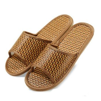 2 Pairs of Rattan and Bamboo Woven Slippers Summer Couple Non-Slip Home Woven Slippers