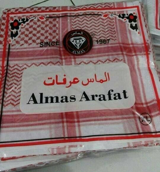 SORBAN ASLI SAUDI Surban Imamah Arab Almas Arafat Shemagh Merah Hitam / MD1090719