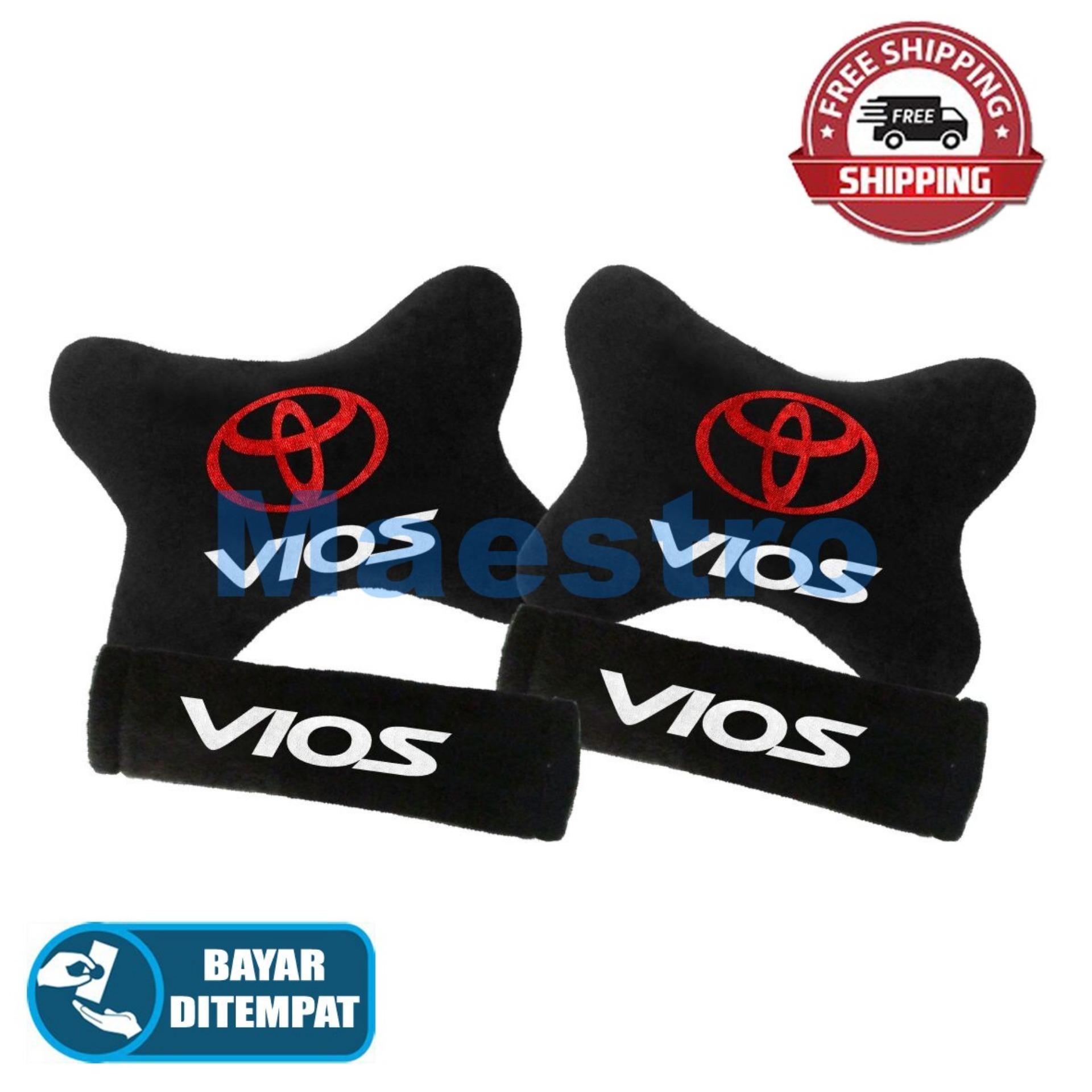 Aksesoris bantal leher jok mobil lucu unik Set 2in1 Toyota Vios