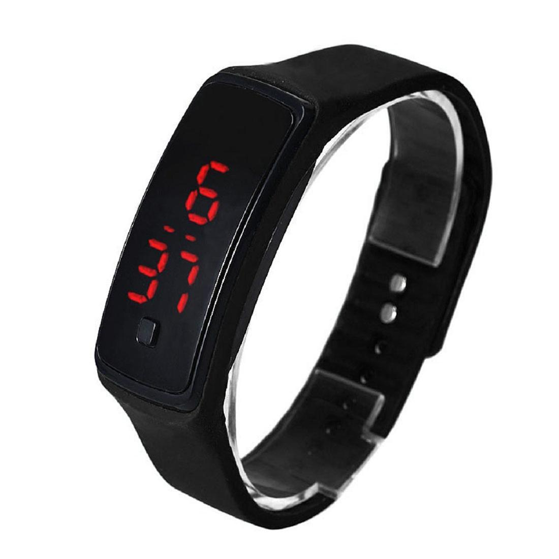 Fashion Ultra-slim Men Silicone Digital LED Sports Wrist Watch (Black) Malaysia
