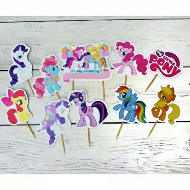Cake Topper Toper Cup Cake Cupcake Kue Ulang Tahun Happy Birthday Karakter Kuda Poni My Little Pony Lazada Indonesia