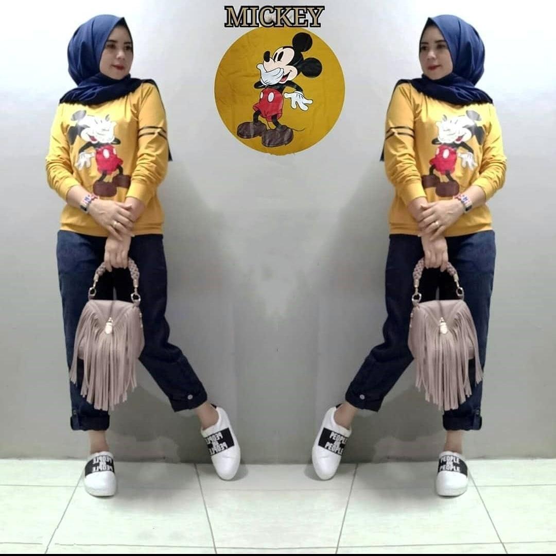 Baju Muslim Modern Setelan Mickey Set Combad Mix Scuba Baju Atasan Casual  Baju + Celana Modern f58568202c