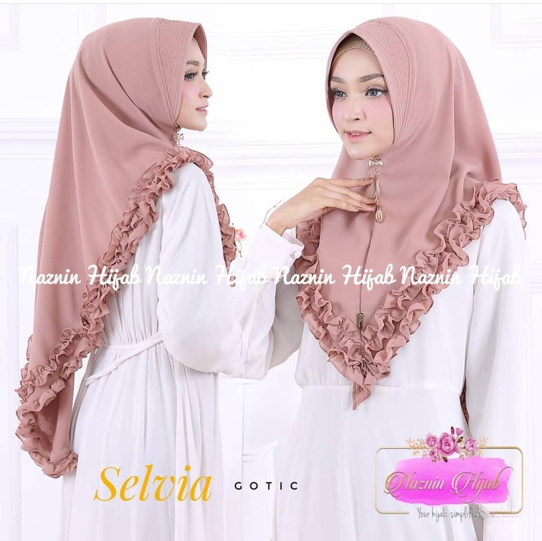 Khimar Mini Selvia Gotik. Moca / Jilbab Muslim / Hijab Instan Murah / Daily Jilbab / Khimar Serut
