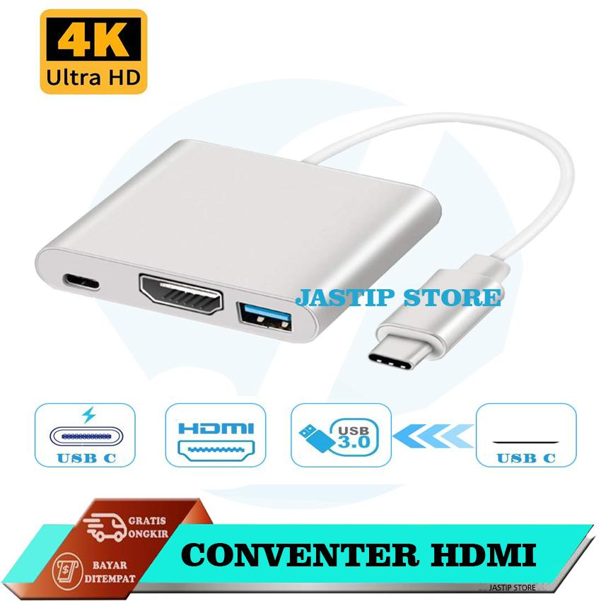 Jastip 3 in 1 USB Type-C to HDMI Multiport Charging Converter HUB HDMI Adapter 4K USB 3.1 For Macbook /Chromebook Pixel/USB-C Devices