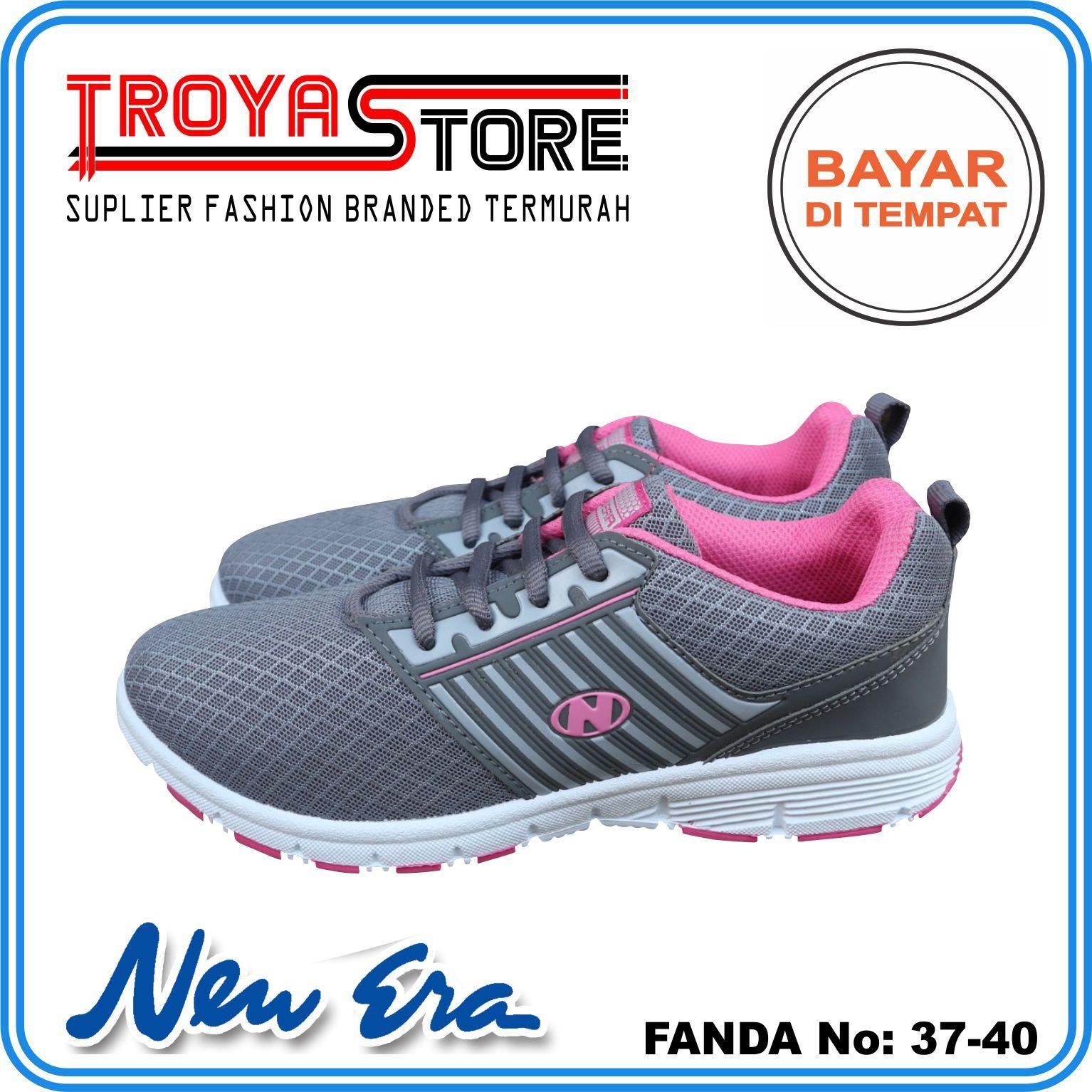 TROYASTORE - NEW ERA Sepatu Wanita Murah FANDA Original   Sepatu Sport  Wanita Abu Hijau Merah 87daa8f2d2
