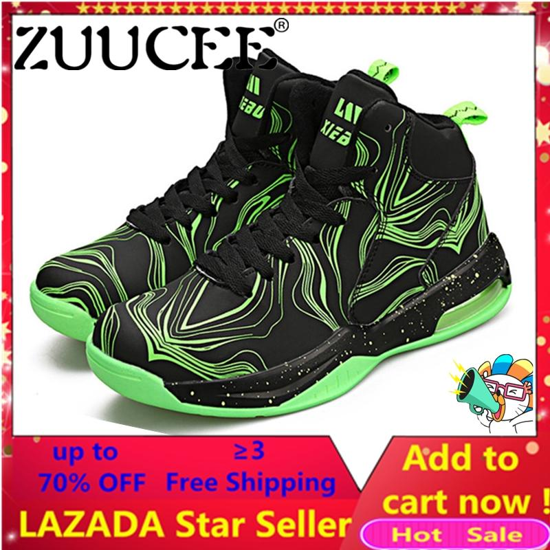 Zuucee Women Fashion Outdoor Sports Basketball Shoes Lovers Running High-Top(black Green)【free Shipping】 By Zuucee.