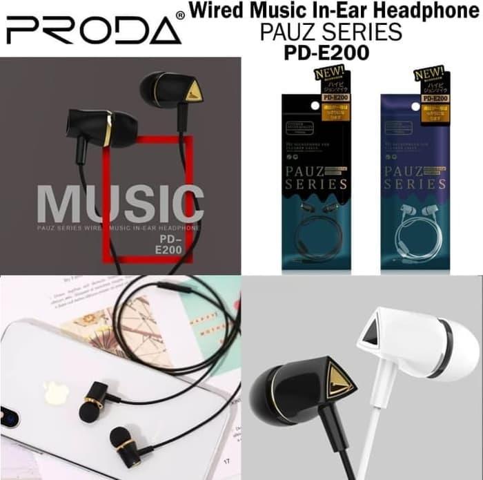 REMAX HEADSET PRODA PAUZ SERIES ERAPHONE WITH MIC PD E200 HEAVY BASS WIRED MUSIC IN EAR HEADPHONE