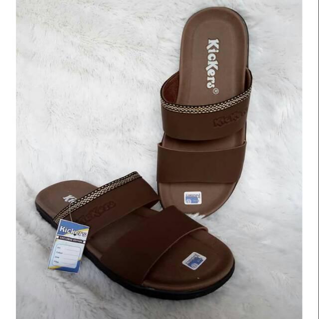 Sandal Pria Kickers Slop Santai Coklat Tua (KEKSL-CK) 796ddd1eaf