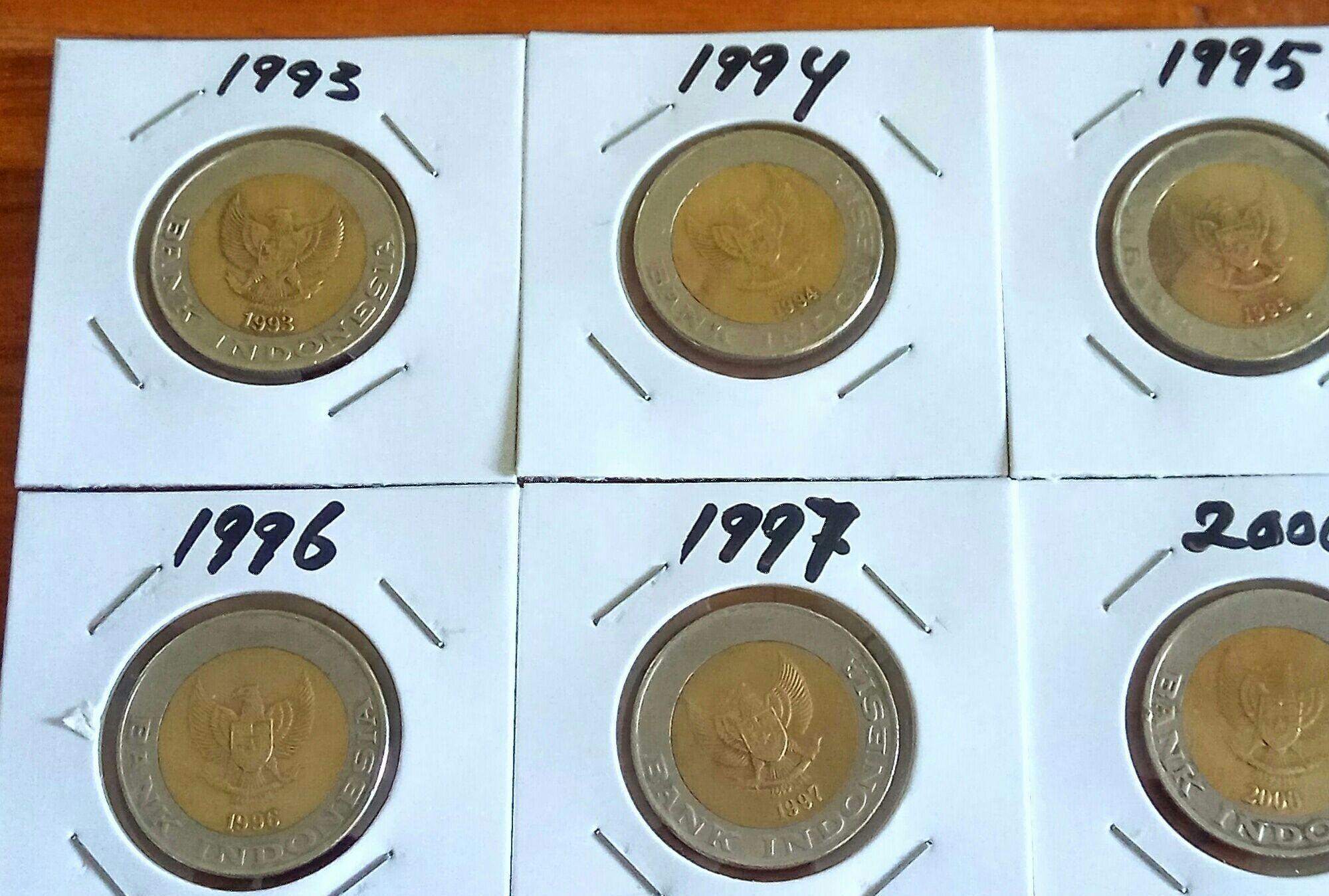 Uang Kuno Koin 1000 Kelapa Sawit Tahun Lengkap 1993,1994,1995,1996,1997,2000