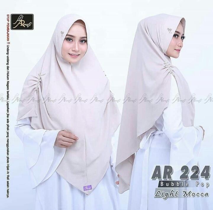 Hijab Arrafi AR 224 Light Mocca Jilbab Instan Ar Rafi Bergo Kerudung Khimar Jumbo