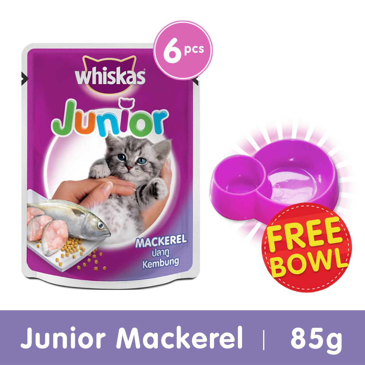 [isi 6 Pack] Whiskas Pouch Junior 85gr Makanan Kucing Basah rasa Mackerel + Free