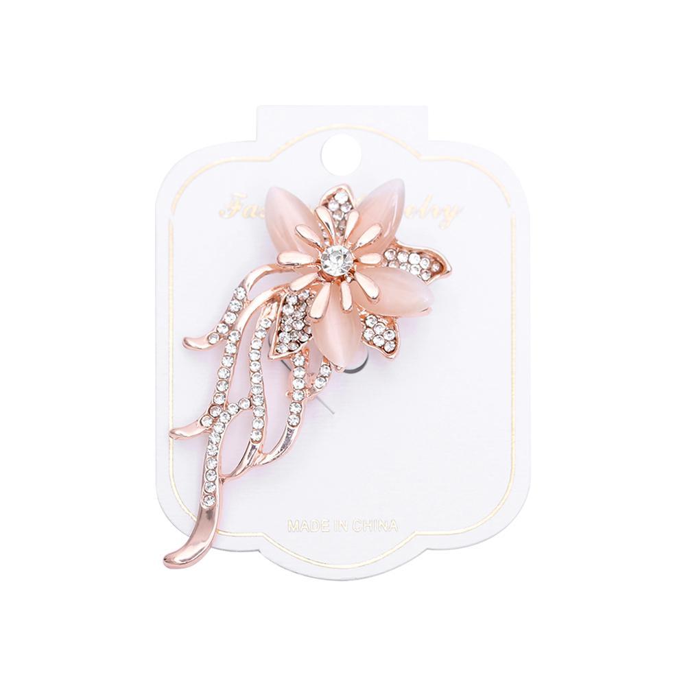 Fashion Opal Stone Rhinestone Gold Flower Bouquet Brooch Pin Wedding Bridal Gift By Chuanming.
