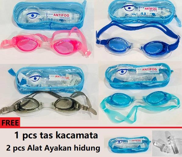 Kacamata Renang - Water World - Elastis Anti Fog - Goggle By Mawar88shop.