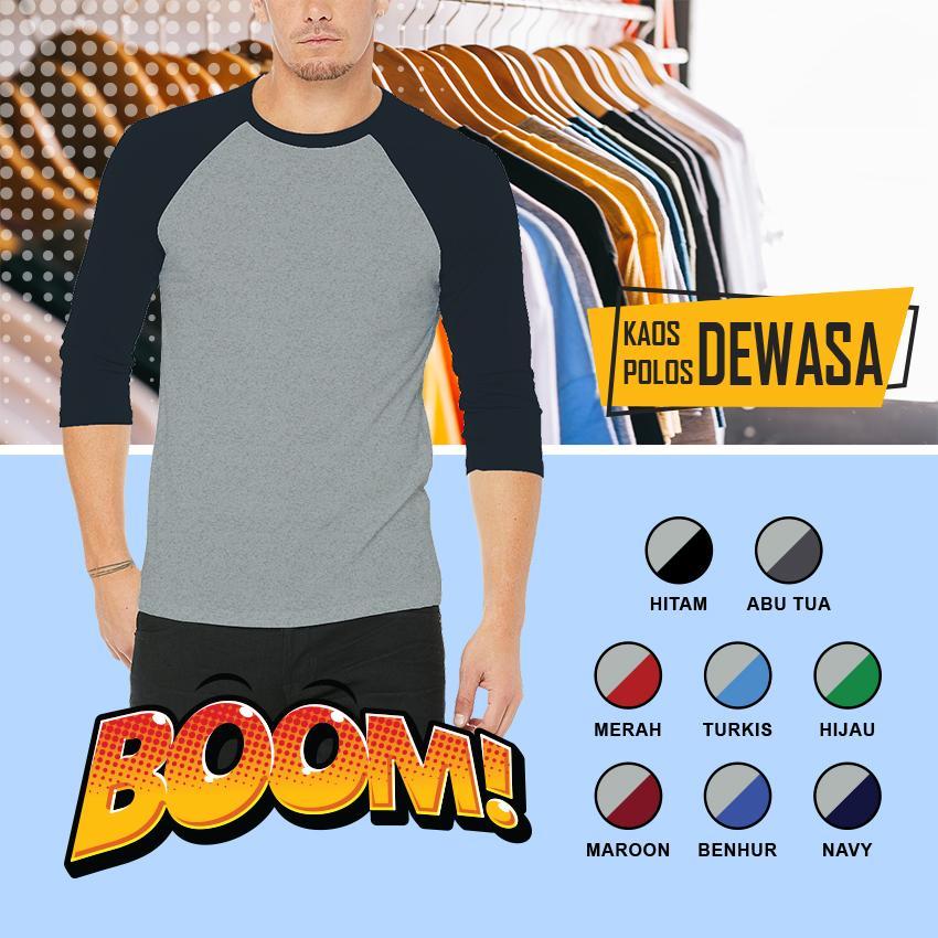 KaosBOOM T-Shirt Kaos Polos Pria Raglan Lengan 3/4 ABU MISTY Kombinasi Tangan Warna Premium Distro