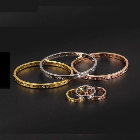 Gelang Titanium Motif Angka Romawi Pria Wanita Roman Numeral Bracelet By Salari Shop.