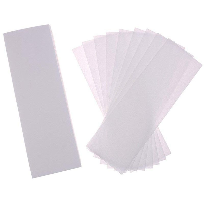 200 Pack Hair Removal Waxing Strips Non woven Wax Strips Epilating Strips for Face, Legs, Underarms, Body and Bikini, White