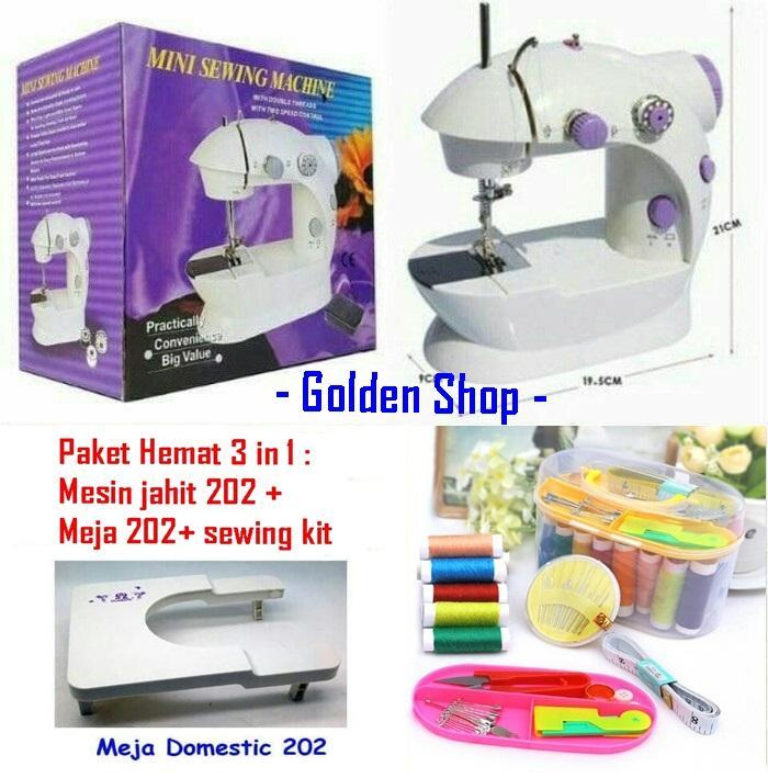 NEW SET PAKET HEMAT3in1 Mesin Jahit + Sewing Kit Mini +Meja  Portable 202 Ada Lampunya FREE Meteran