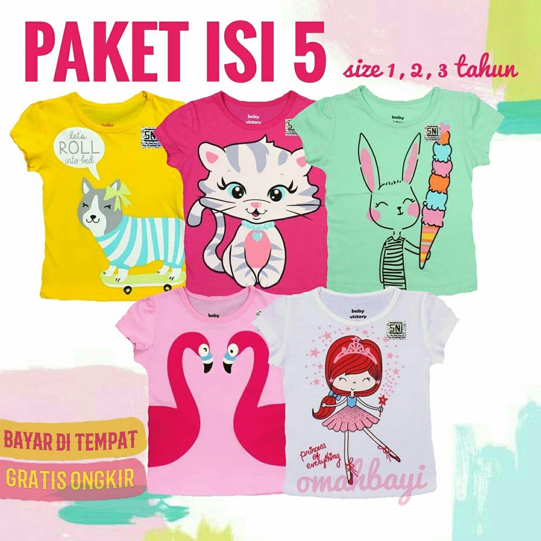Isi 5 Kaos Anak Perempuan Karakter Branded Murah Umur 1-2-3 Tahun Random Baby Victory By Omahbayi.