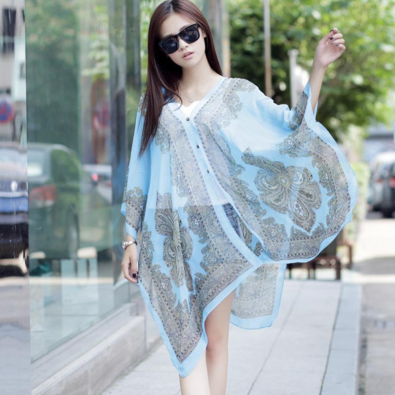 Xiziy 100*155 ซม. ผู้หญิงฤดูร้อนครีมกันแดดชีฟองผ้าคลุมไหล่ชายหาดเสื้อผ้าหน้าร้อน By Xiziy.