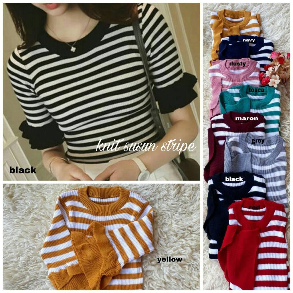 Grand LMS Blouse Knit Susun Stripe Bahan Rajut Premium Fit To L / Atasan Wanita / Baju Formal / Kem