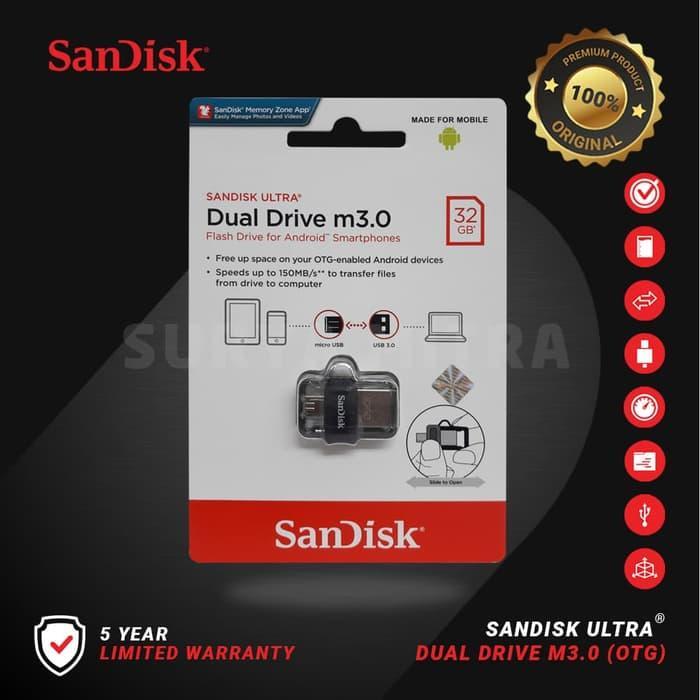Flashdisk Sandisk 32GB Original Dual Drive OTG 3.0 M3