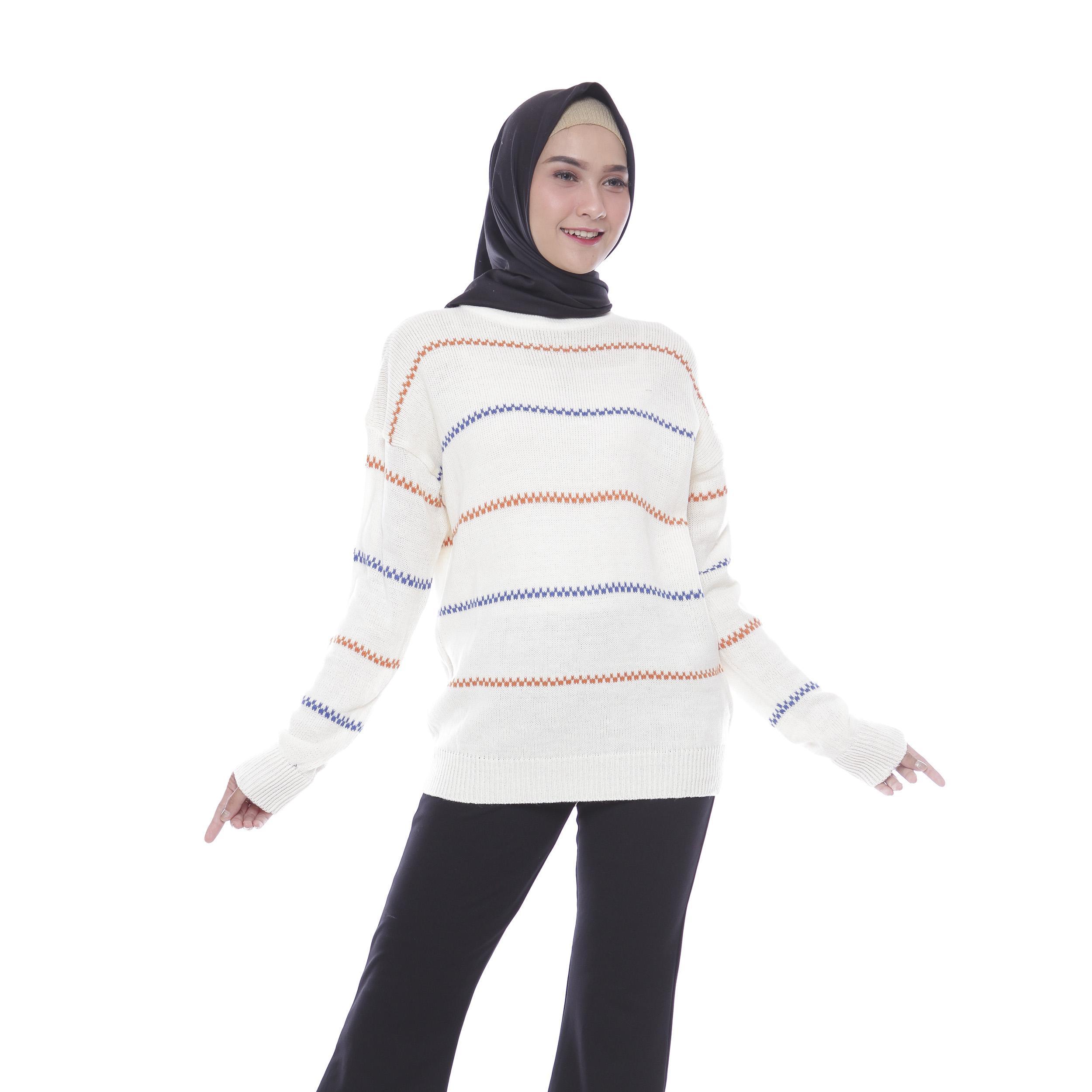 Baju Muslim Sweater Rajut Wanita Terbaru Infinity Stripe Real Pict By Awproject.