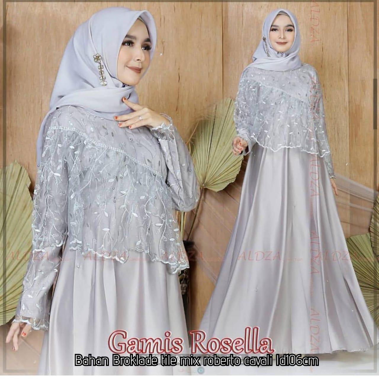 Termurah!!! dan COD Lily Store rosella Gown gamis brokat tile mewah model  gamis tile mutiara gamis kombinasi tile mutiara gamis brokat tile pesta
