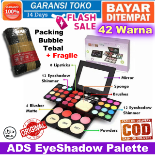 Bayar di Tempat ADS EyeShadow Palette Set Lengkap 42 Warna Pallete Make Up Kit Fashion Avenue Pallette EyeShadow Lipstick LipStik Blush On Bedak Powder Beauty Kosmetik Kecantikan Eye Shadow Laz COD Sasa Mall thumbnail