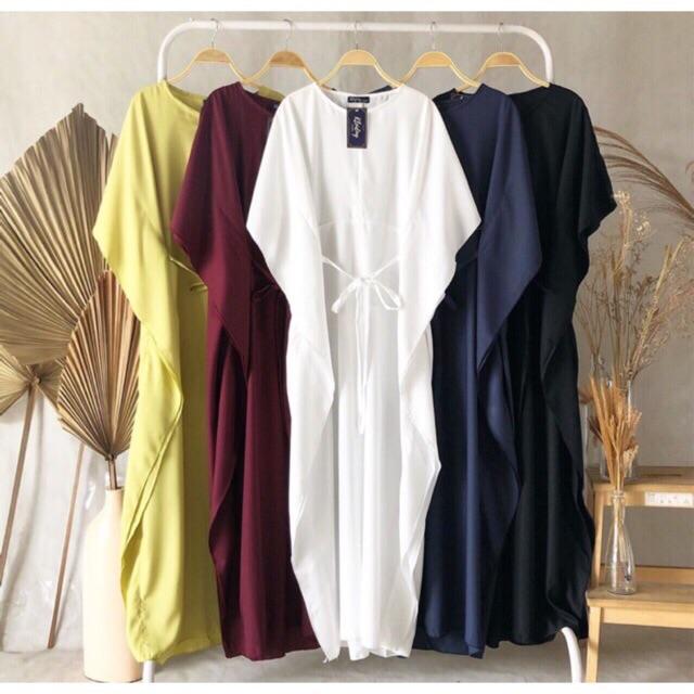 Kaftan Wings Ikat Kaftan Batwing Kelelawar Polos Abaya Gamis Wanita Maxi Dress Muslimah Outfit Kondangan Lebaran Terbaru Best Seller Naala Collection Lazada Indonesia